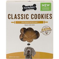 Three Dog Bakery Peanut Butter Chips Classic Cookies Dog Treats, 13-oz box
