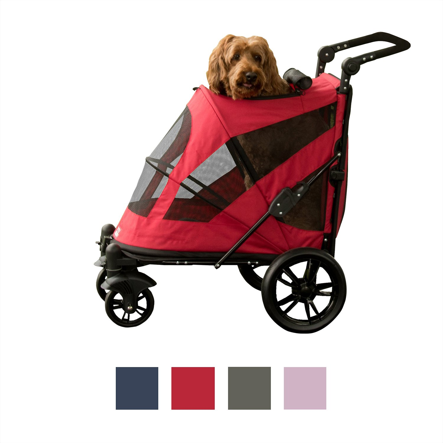 Pet Gear Excursion No-Zip Dog & Cat Stroller, Candy Red ...