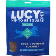 Lucy Pet Products Hip To Be Square Duck & Pumpkin Formula Grain-Free Dog Treats, 6-oz bag