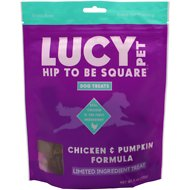 Lucy Pet Products Hip To Be Square Chicken & Pumpkin Formula Grain-Free Dog Treats, 6-oz bag