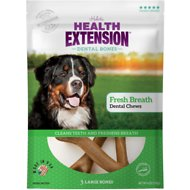 Health Extension Fresh Breath Dental Bones Dog Treats, Large, 3 count
