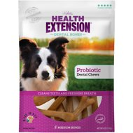 Health Extension Probiotic Yogurt Dental Bones Dog Treats, Medium, 8 count