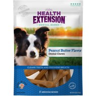 Health Extension Peanut Butter Dental Bones Dog Treats, Medium, 8 count