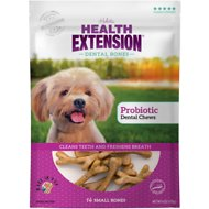 Health Extension Probiotic Yogurt Dental Bones Dog Treats, Small, 14 count