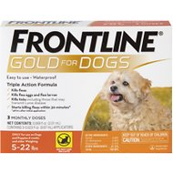 Frontline Gold Flea & Tick Treatment for Small Dogs (5-22 lbs), 3 treatments