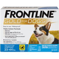 Frontline Gold Flea & Tick Treatment for Medium Dogs (23-44 pounds), 6 treatments