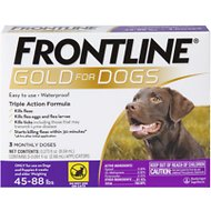 Frontline Gold Flea & Tick Treatment for Large Dogs (45-88 lbs), 3 treatments