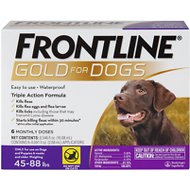 Frontline Gold Flea & Tick Treatment for Large Dogs (45-88 lbs), 6 treatments