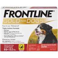 Frontline Gold Flea & Tick Treatment for Extra-Large Dogs, 89-132 pounds, 3 treatment