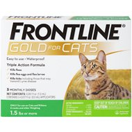 Frontline Gold Flea & Tick Treatment for Cats, 3 treatments