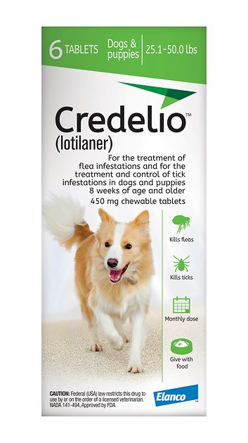 Credelio Chewable Tablet For Dogs 25 1 50 Lbs 6 Count