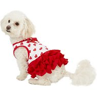 Pup Crew Red Heart Print Dog Dress, Small