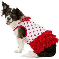 Pup Crew Red Heart Print Dog Dress, Large
