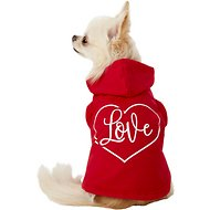 Pup Crew Red Love Heart Dog Hoodie, X-Small
