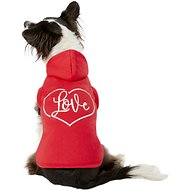 Pup Crew Red Love Heart Dog Hoodie, Large