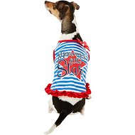 "Pup Crew ""Mommy's Little Star"" Striped Dog Dress, Medium"