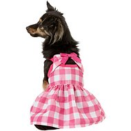 Pup Crew Pink Plaid Bow Dog Dress, Small