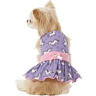Pup Crew Purple Unicorn Print Dog Dress, X-Small