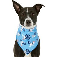 Pup Crew Blue Floral Dog & Cat Bandana, Medium/Large