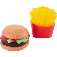 Ethical Pet Vinyl Food 2-pack Burger and Fries Dog Toy, 3-in, Color Varies
