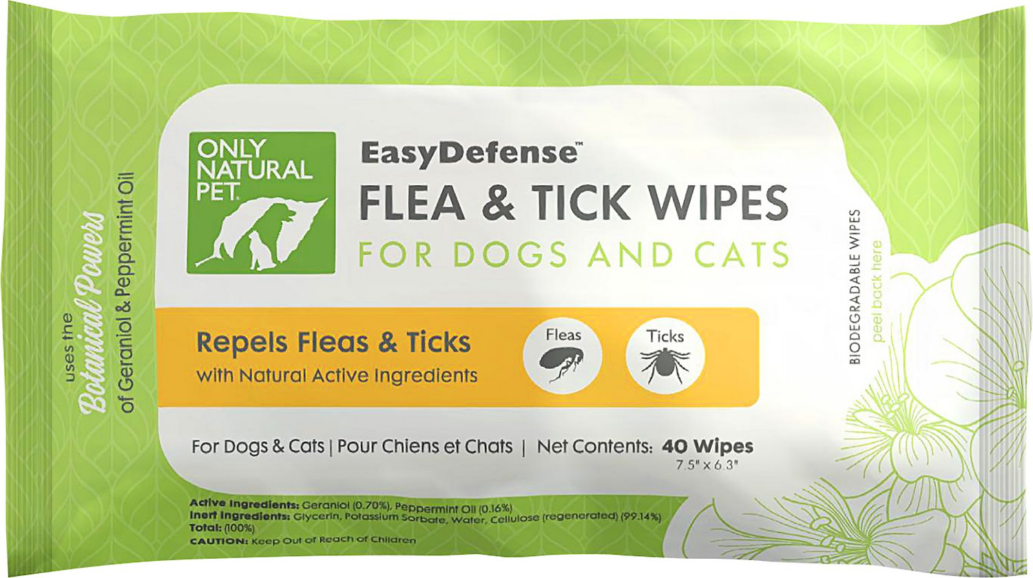 Only Natural Pet EasyDefense Flea & Tick Wipes for Dogs & Cats, 40 count