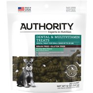 Authority Dental & Multivitamin Grain-Free Dental Dog Treats, Small, 20 count
