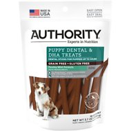 Authority Puppy Dental & DHA Sticks Grain-Free Dental Dog Treats, 19 count
