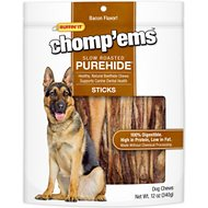 Ruffin' It Chomp'ems Slow Roasted Bacon Flavor Purehide Sticks Dog Treats, 12-oz bag