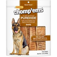 Ruffin' It Chomp'ems Slow Roasted Bacon Flavor Purehide Bars Dog Treats, 12-oz bag