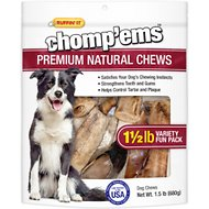 Ruffin' It Chomp'ems Premium Natural Chews Variety Pack Dog Treats, 1.5-lb bag