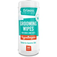 Frisco Hypoallergenic Grooming Wipes with Organic Aloe for Dogs & Cats, Unscented, 50 count