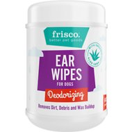 Frisco Deodorizing Ear Wipes with Organic Aloe for Dogs & Puppies, Wild Mint Scent, 60 count
