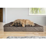 FurHaven Quilted Faux Fur & Velvet Goliath Chaise Dog Bed, Espresso, 4X-Large