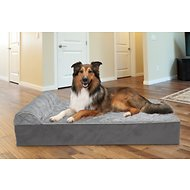 FurHaven Quilted Faux Fur & Velvet Goliath Chaise Dog Bed, Gray, XX-Large