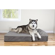 FurHaven Quilted Faux Fur & Velvet Goliath Chaise Dog Bed, Gray, 3X-Large