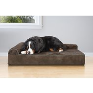 FurHaven Quilted Faux Fur & Velvet Goliath Chaise Dog Bed, Espresso, 3X-Large