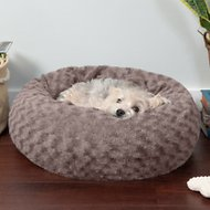 FurHaven Curly Fur Plush Donut Dog Bed, Cocoa Dust, Small