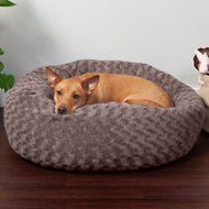 FurHaven Curly Fur Plush Donut Dog Bed, Cocoa Dust, Medium