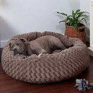 FurHaven Curly Fur Plush Donut Dog Bed, Cocoa Dust, Large