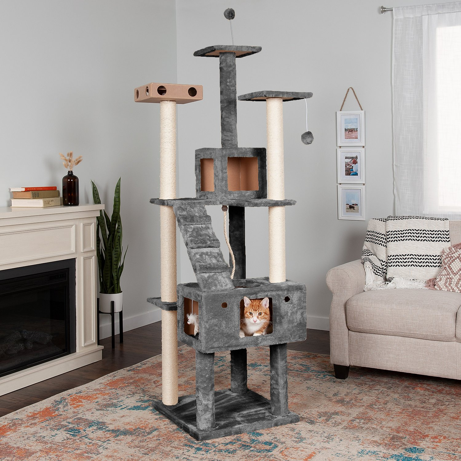 Tiger Tough Double Decker Playground 69 3 In Faux Fur Cat Tree Condo Grey Chewy Com