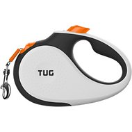 TUG Retractable Tape Dog Leash, 16-ft, White/Orange, Small