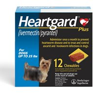 Heartgard Plus Chewable Tablets for Dogs, up to 25 lbs, 12 treatments