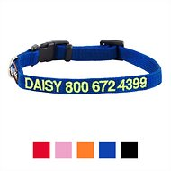 GoTags Personalized Nylon Dog Collar, Blue, X-Small