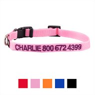 GoTags Personalized Nylon Dog Collar, Pink, X-Small