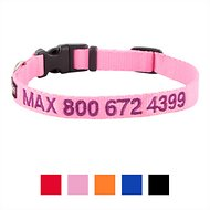 GoTags Personalized Nylon Dog Collar, Pink, Small