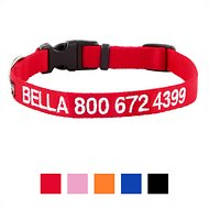 GoTags Personalized Nylon Dog Collar, Red, Small: 11 to 16-in neck, 5/8-in wide