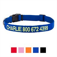GoTags Personalized Nylon Dog Collar, Blue, Large