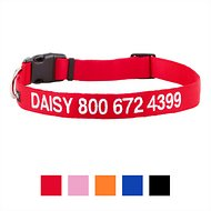 GoTags Personalized Nylon Dog Collar, Red, Large