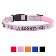 GoTags Personalized Reflective Nylon Dog Collar, Pink, Small