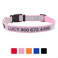 GoTags Personalized Reflective Nylon Dog Collar, Pink, Medium
